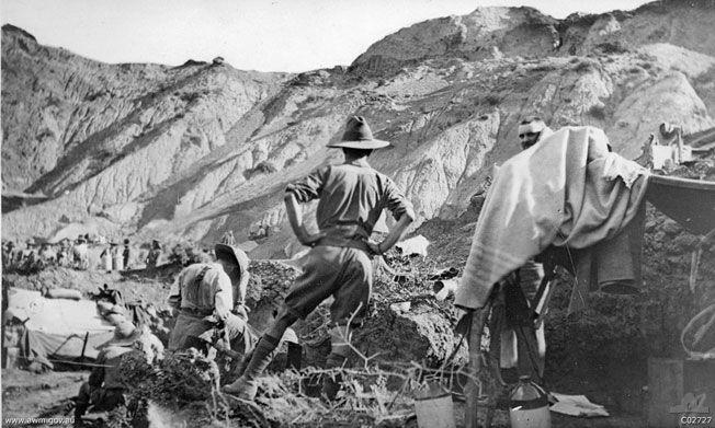 Men of the 1st Australian Light Horse Regiment taking over new dugouts near No. 1 Outpost, on the left of Walker's Ridge, 1915.  Picture: ...