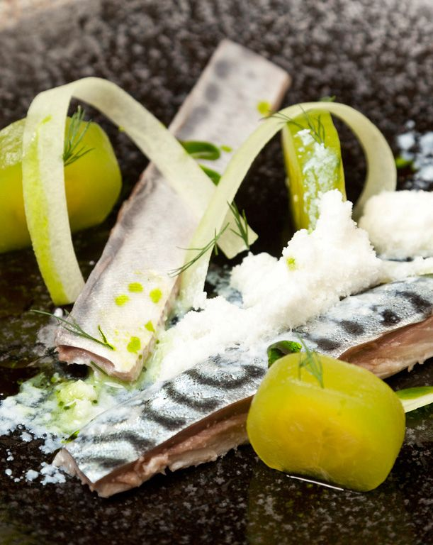 This pickled mackerel recipe from Christoffer Hruskova may look very contemporary but in fact it features classic flavour combinations. The pickling technique used for the mackerel is very traditional to Scandanavian cuisine.