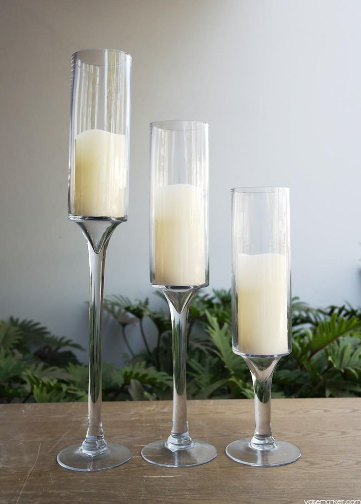 Glass Tall Candle Holders