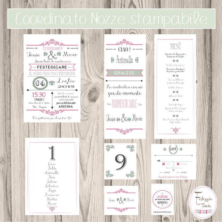 Coordinato nozze stampabile/partecipazione vintage stampabile digitale/set wedding/Invito matrimonio personalizzabile/Set matrimonio di FesteggiaconTaniaIT su Etsy