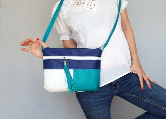 Blue turquoise white leather cross body bag. Small leather