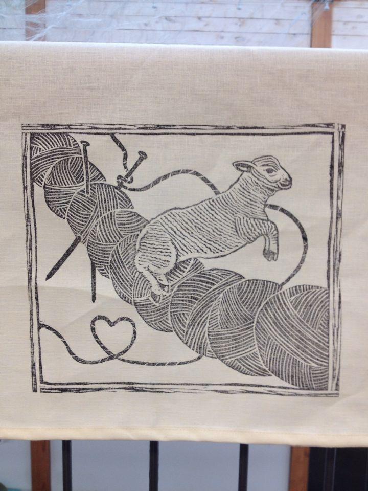Block printed lino cut on hemp and organic cotton tea towel #brindylinens #blockprint #teatowel #hemp #cotton #printed #treatyoself #newfoundland #sheep #knitting