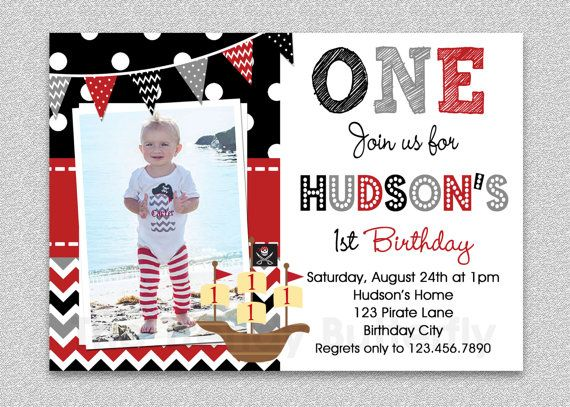 Pirate Birthday Invitation Boys Pirate by TheTrendyButterfly