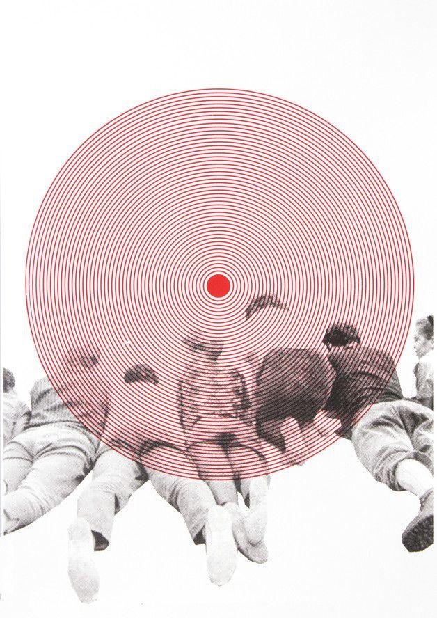 Siebdruck - KREISEND Siebdruck Collage A3 Poster Kreis Rot - ein Designerstück von Morkebla bei DaWanda
