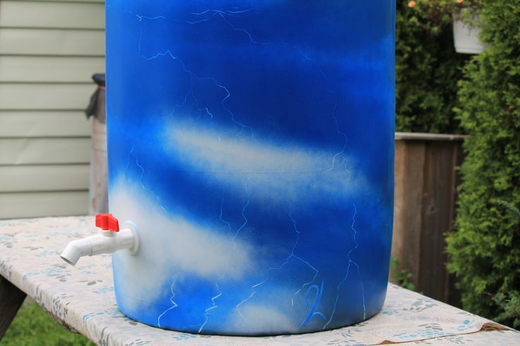 """-FOR SALE- Rain barrel #003 """"Lightning In A Barrel"""" Photo #2 of 3 Complete with 5' of overflow tubing, colored cleanable aquarium gravel filter system & all hardware parts are replaceable. One of a kind, hand painted with Krylon Fusion paint for plastic."""