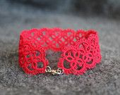 Delicate red lace bracelet - made to order