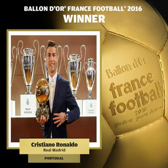 Cristiano Ronaldo won the Ballon d'Or for a fourth time, beating Barcelona's Lionel Messi and Atletico Madrid's Antoine Griezmann to wor...