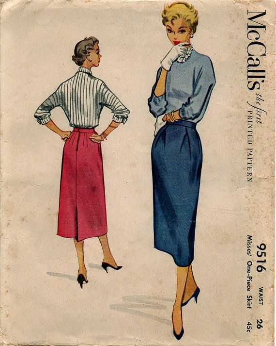 1953 misses skirt pattern waist 26 kick