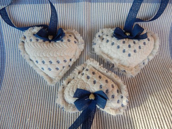 Provence Quilted Heart Ornaments by cuoredamore on Etsy