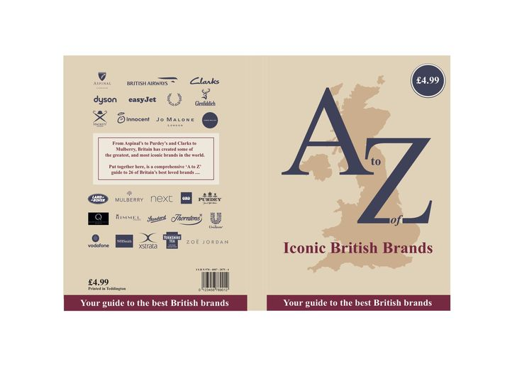 A to Z of Iconic British brands front and back cover design by Ben White, Esher College 2017