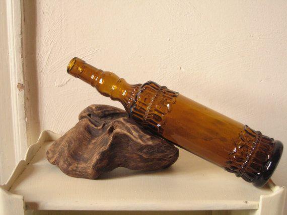Ancienne bouteille ouvragée en verre ambré / Carafe Vase Soliflore Décoration / Bouteille vintage en verre pressé / LMsoVintage