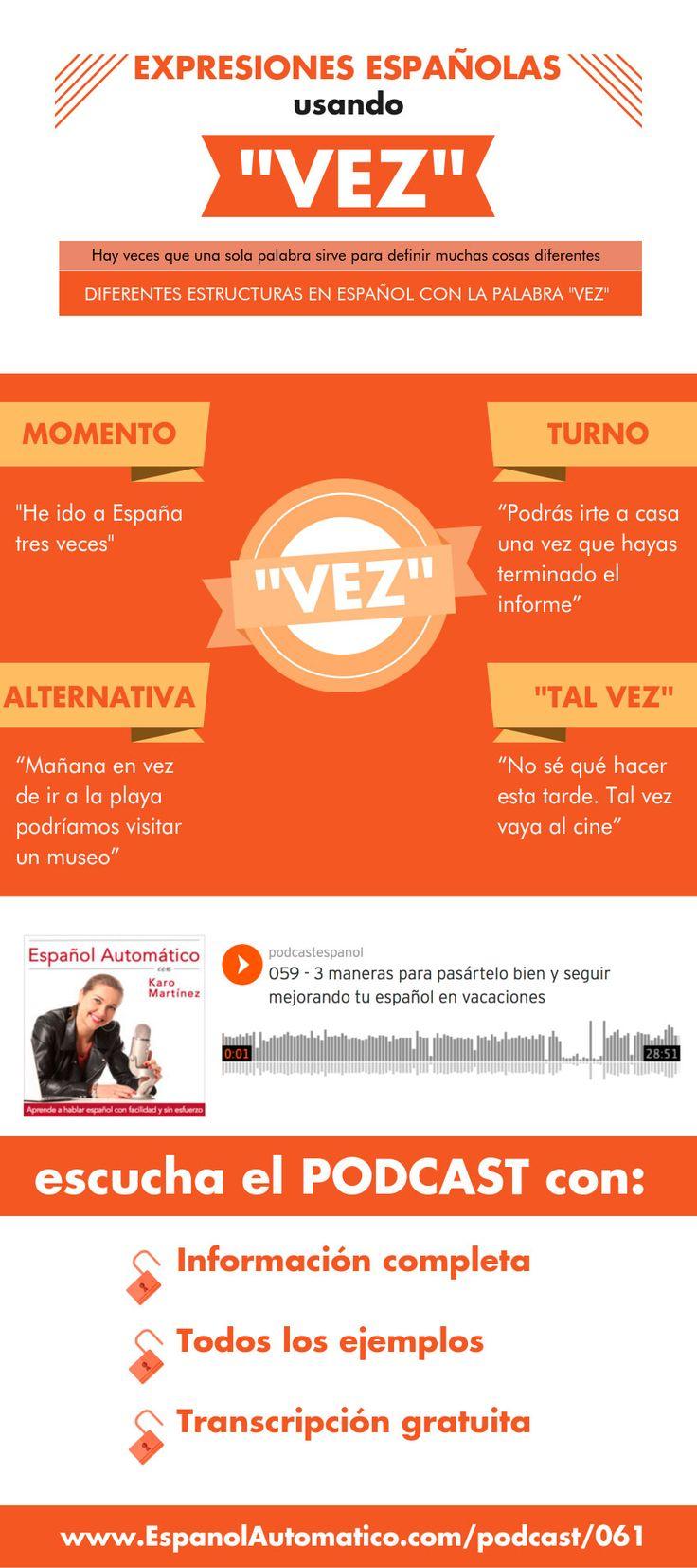 """Expresiones españolas usando """"vez""""[Podcast 061].  En español, hay veces que una sola palabra sirve para definir muchas cosas  diferentes. He aquí diferentes estructuras de español que usan la palabra «vez». Podcast: http://espanolautomatico.com/podcast/061REPIN for later"""