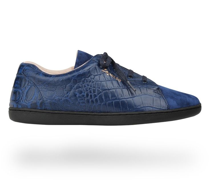 Sneakers 'Chouchou': Classic blue Alligator-like leather and Goatskin suede. #Repetto #RepettoSneakers #RepettoRunners
