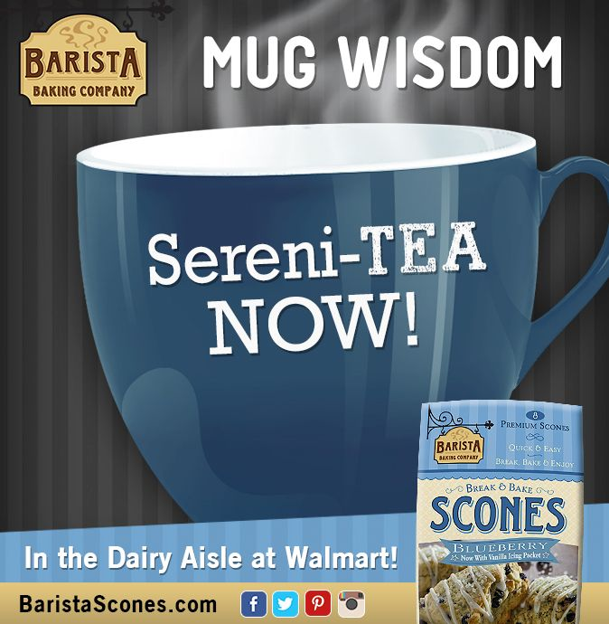 Take a moment for yourself and recharge back to #serenity with a #cupoftea and a #Barista #scone!