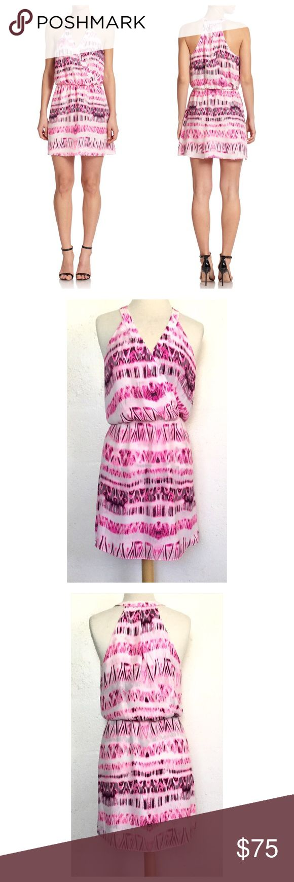 "Parker Kita Dress Parker Kita dress with an Aztec print.  The color is Pop Pink Cosmos.  Measures about 37"" in length and 16 1/2"" across the armpits.  The waist is elasticized, surplice neckline front and back.  100% Polyester.  Dry clean only.  No trades. Parker Dresses Mini"