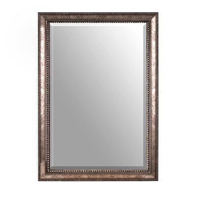 Antiqued Silver Framed Mirror 30x42 In