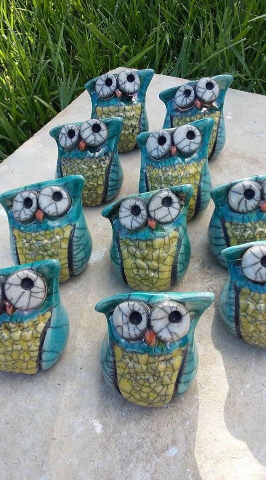ceramica come mestiere: Gufi in Raku