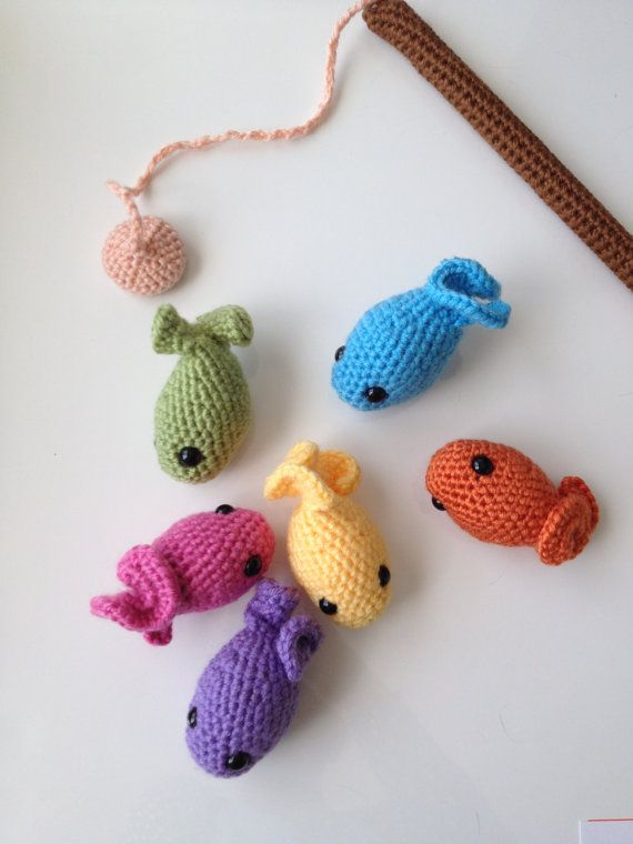 Crocheting Games : Rainbow Magnetic Fishing Game Crochet by JulieBeMineCrochet on Etsy