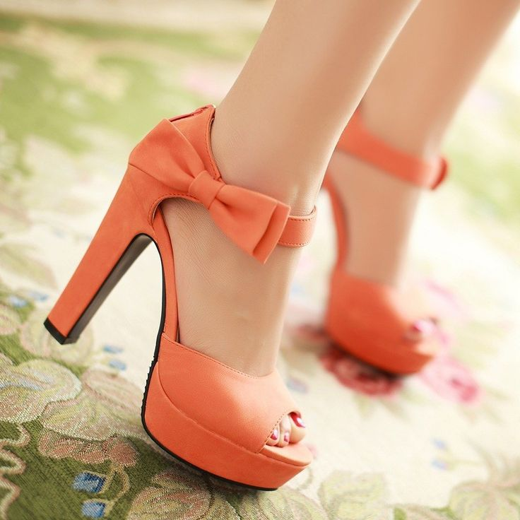 Hot 2014 new summer fashion ankle strap orange thick high heels sandals platform open toe ladies women shoes brand-in Pumps from Shoes on Al...