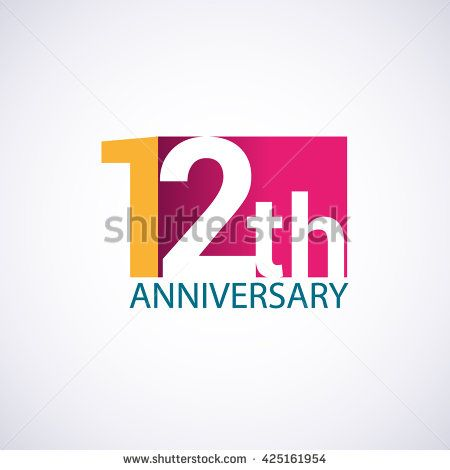 Template Logo 12th anniversary. 12 years anniversary red colored vector design