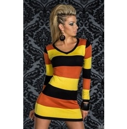 Stripped Long Sleeve Multi Coloured Mini Dress