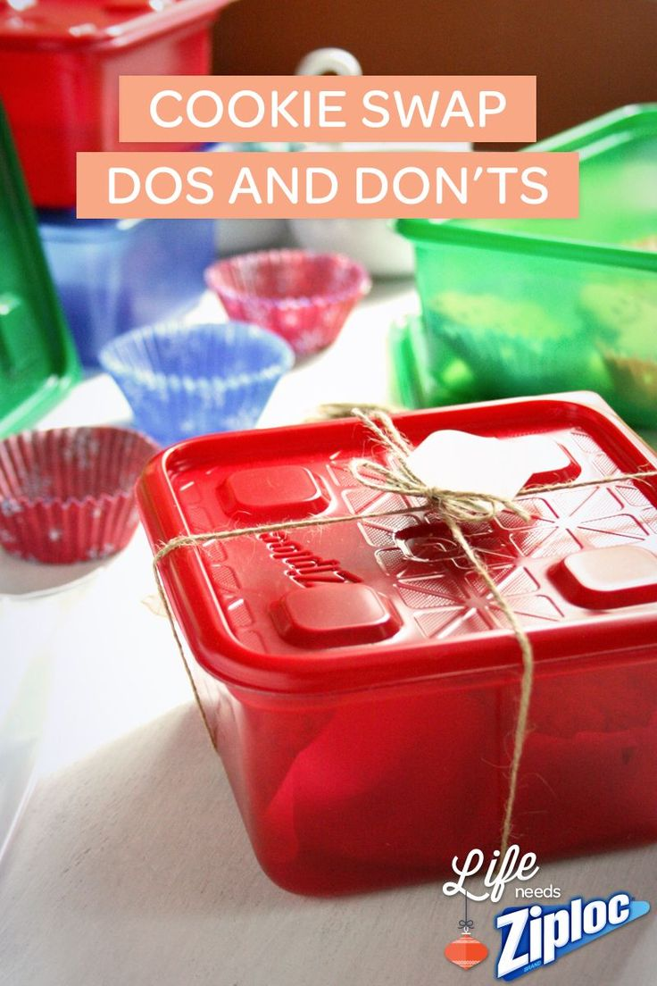 Do's and Don'ts for a successful cookie swap. Save time with these helpful tips and cute ideas! Forget the fancy holiday plates - gift delicious cookies in Ziploc® containers. They're easy to dress up!