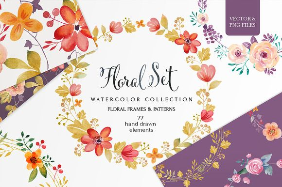 Watercolor clip art galore! Love these watercolor flowers.