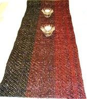 Hand woven Red & Black- table runner (cotton/video cassette tape).