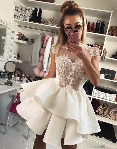 Cute lace white short prom dress, cute homecoming dress,BD173004