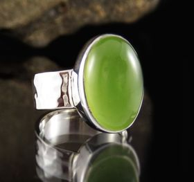 Prehnite Ring Size 8 by Entia Jewellery