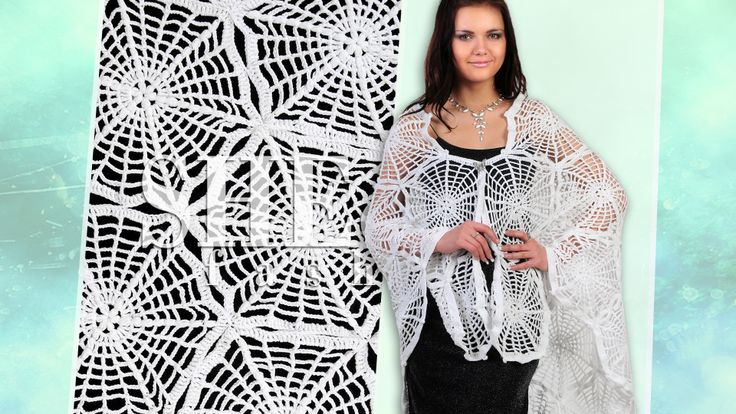 """Crochet Shawl """"Spider Web"""" Model 8 Палантин паутинка вязаный крючком  http://www.youtube.com/watch?v=_ka4N0PZobo Motif Shawl Free Pattern. Spider web motifs are easy to perform and they are very popular among crocheters. For this shawl you need to crochet 27 hexagon motifs that look like a spider web and join them together using a join-as-you-go technique. Complete your shawl working a simple crochet trim around. Crochet charts are included. Thanks for watching!"""