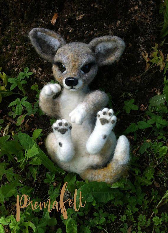 OOAK, needle felted, animal, cute, wolf, miniature, felted