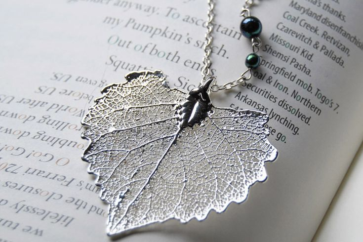 Large Fallen Silver Cottonwood Leaf Necklace by Enchanted Leaves