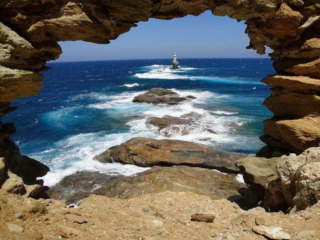 Tourlitis Lighthouse (Faros Tourlitis), built in 1887, Andros island - Greece