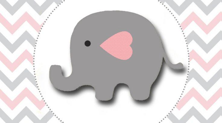 Elefantinho Chevron cinza e rosa: Kit festa grátis para imprimir – Inspire sua Festa ®