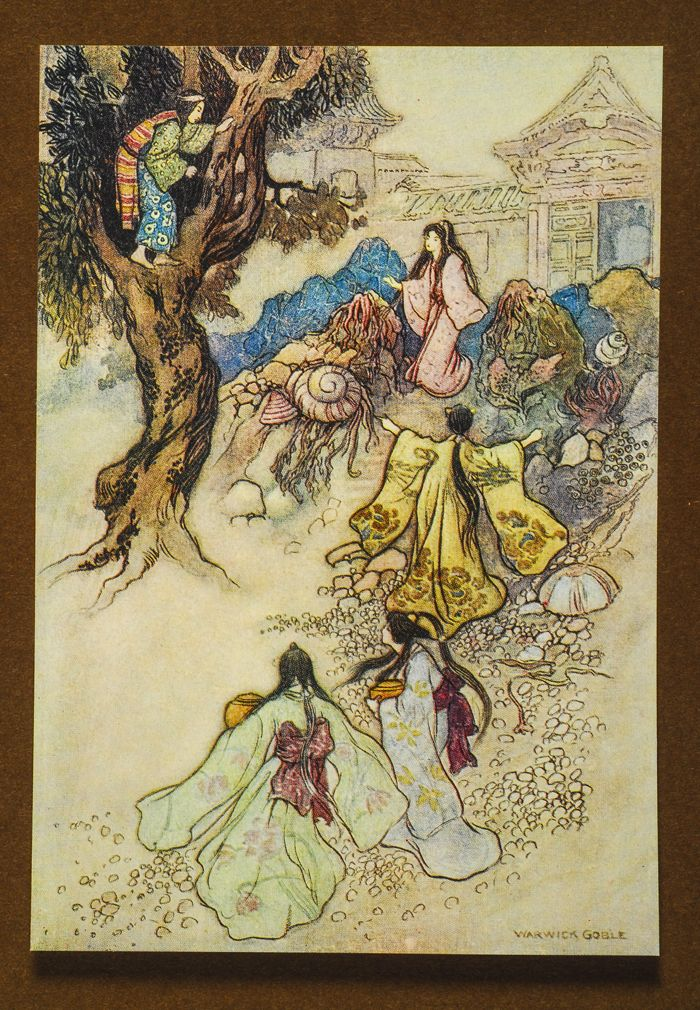 "from ""Green Willow and Other Japanese Fairy Tales"" illus. Warwick GOBLE 