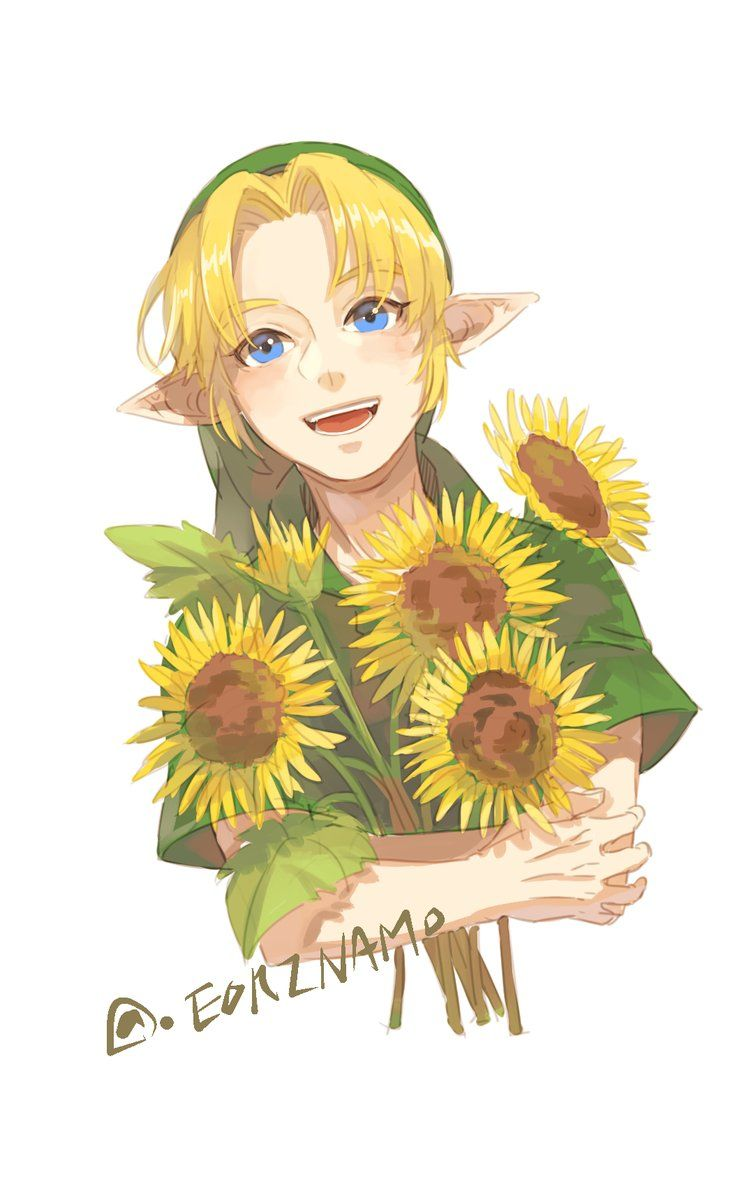 Link Sunflowers Flowers Zelda Art Legend Of Zelda Link Zelda Art