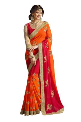 Georgette Orange Colored Fitted Tailored To Fit Saree With Blouse Sarees on Shimply.com