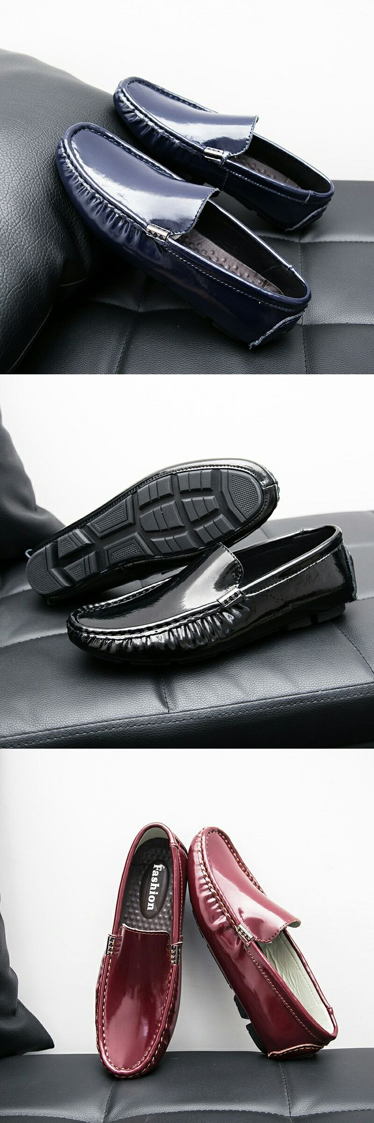 US $25.48 <Click to buy> Prelesty Simple Men's Shoes Loafers Patent Leather Casual Shoes Breathable Slip On Lighweight Zapatillas Hombre Size 45 46 47