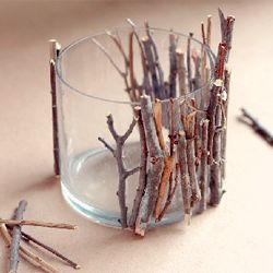 glue twigs to small glass or vase for a rustic look