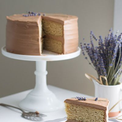 Earl Grey Cake with Chocolate Lavender Frosting @keyingredient #cake #chocolate