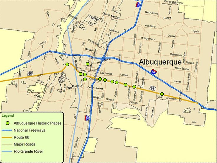 Map of Albuquerque--Route: A Discover Our Shared Heritage Travel Itinerary
