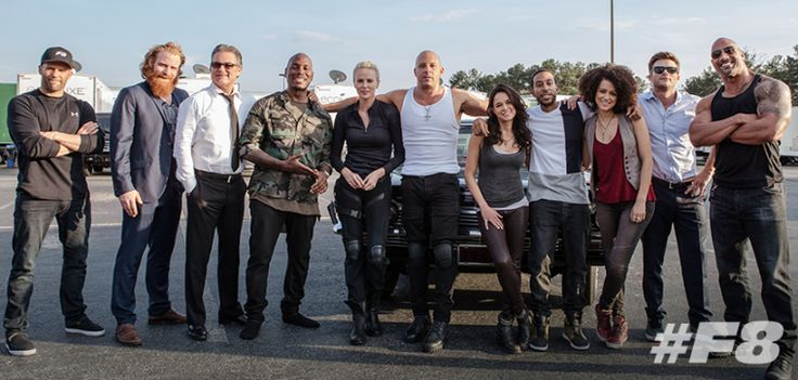 Jason Statham, Kristofer Hivju, Kurt Russell, Tyrese Gibson, Charlize Theron, Vin Diesel, Michelle Rodriguez, Chris Bridges, Nathalie Emmanuel, Scott Eastwood and Dwayne Johnson of The Fate of the Furious (2017).