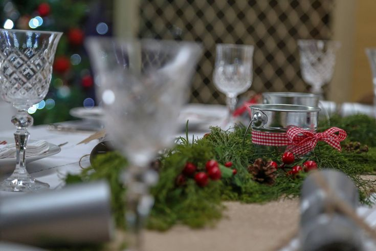 Holiday tables decorated in Red Gingham