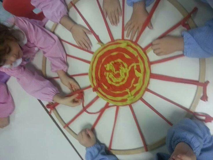Facciamo un bel tappeto con un cerchio della palestra.Un po' per uno.....non fa male a nessuno...ma un bellissimo tappeto colorato