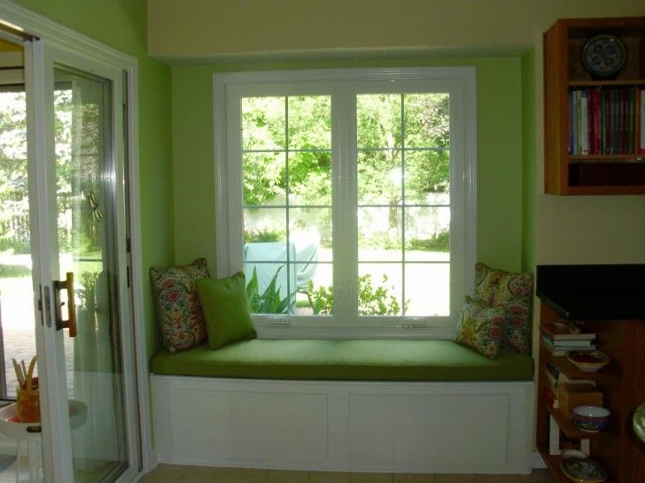 Awesome Window Seat Designs: Comely Window Seat Ideas White Frames Design Fabric Selection And Cushion Built In Plans Interior Green Painting Walls With Wooden Bookcase Inspiration ~ zhujima.com Window Design Inspiration