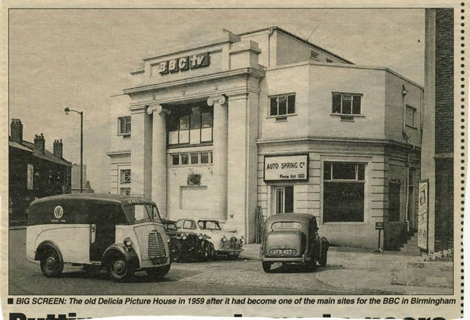 A news cutting of the old Delicia cinema in 1959. The cinema opened on November 5, 1923 and closed in 1944. It later became a venue for wrestling, and then became home to the #BBC Midlands TV studios (pictured here) before they relocated to Pebble Mill. Aston University purchased the building in 1971 and today (2013) it houses the European Bioenergy Research Institute (EBRI).