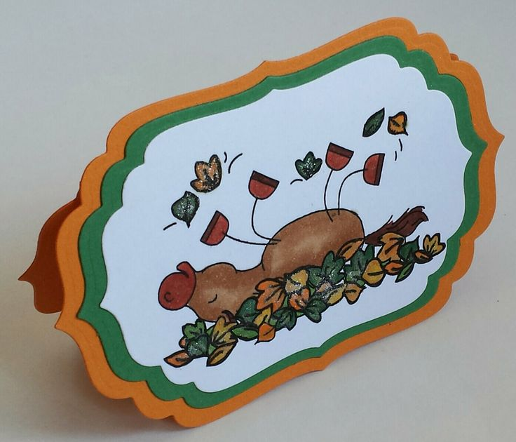 Shaped Card, Stamping, Pferd, Horse, Herbst, Autumn, Fall , Spellbinders,  Copics
