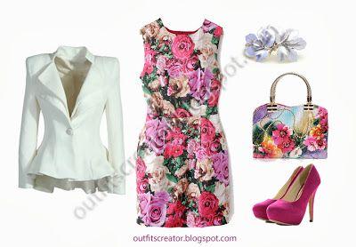 cheap autumn elegant outfit rose print pink pumps white blazer floral bag