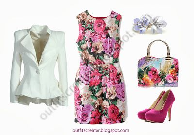 cheap autumn elegant outfit rose print pink pumps white blazer floral bag